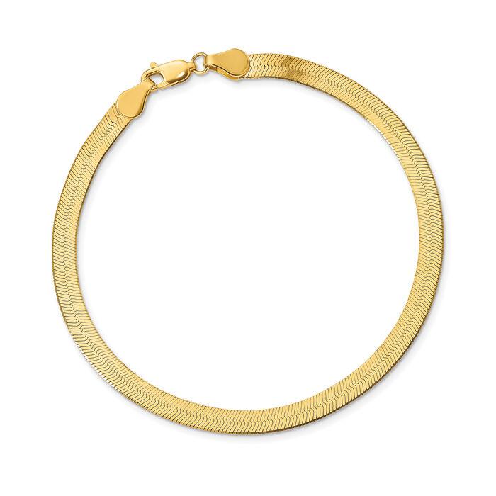 14kt Yellow Gold 10mm Herringbone Bracelet, , default