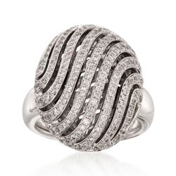 1.51 ct. t.w. Wavy Line Diamond Ring in 18kt White Gold, , default