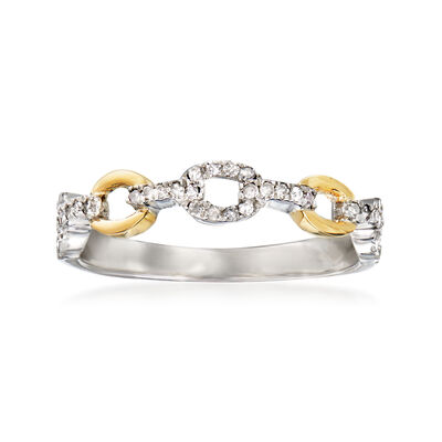 .20 ct. t.w. Diamond Link Ring in Sterling Silver and 14kt Yellow Gold