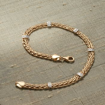 14kt Yellow Gold Wheat-Link Station Bracelet with Diamond Accents, , default