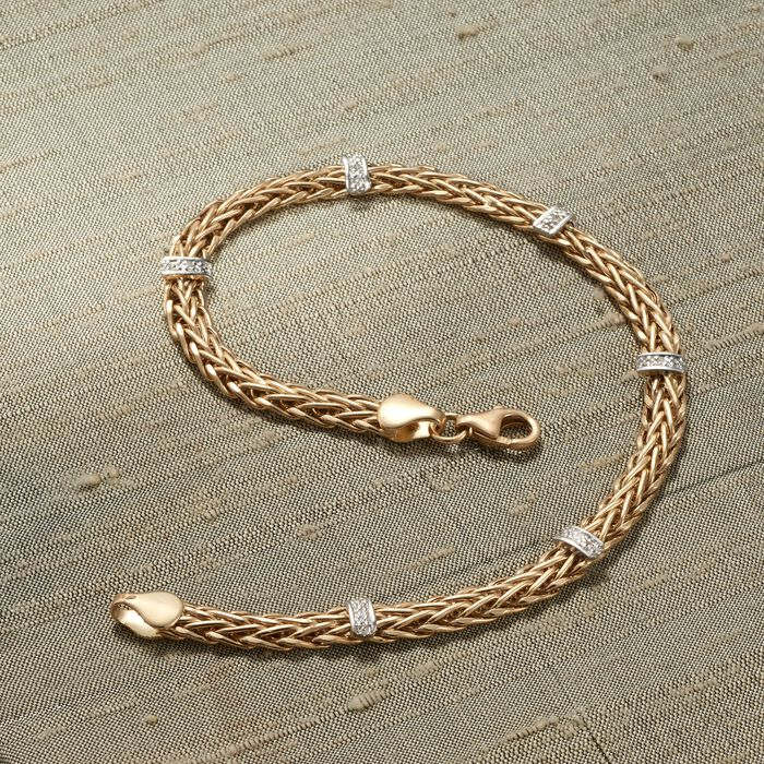14kt Yellow Gold Wheat-Link Station Bracelet with Diamond Accents