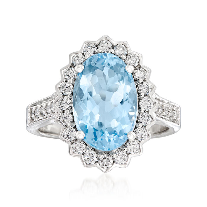 4.30 Carat Aquamarine and .64 ct. t.w. Diamond Ring in 14kt White Gold. Size 7