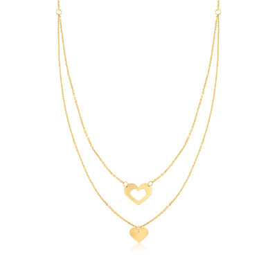 Italian 14kt Yellow Gold Heart Double Necklace