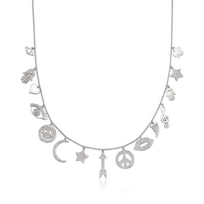 .95 ct. t.w. Diamond Charm Necklace in 18kt White Gold, , default