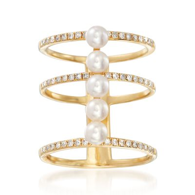 4mm Cultured Pearl and .35 ct. t.w. Diamond Open Three-Row Ring in 18kt Yellow Gold, , default