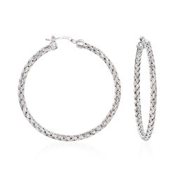 "Charles Garnier ""Milan"" Sterling Silver Large Hoop Earrings, , default"