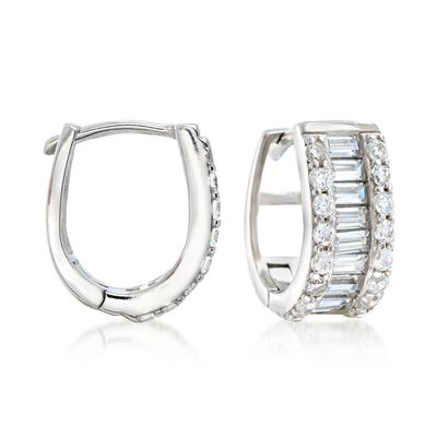 1.40 ct. t.w. Baguette and Round CZ Huggie Hoop Earrings in Sterling Silver, , default