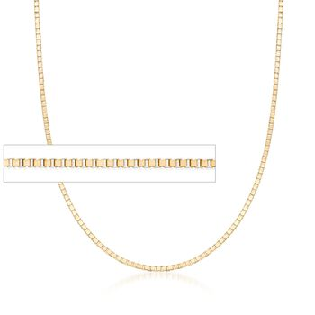 .8mm 14kt Yellow Gold Box Chain Necklace, , default