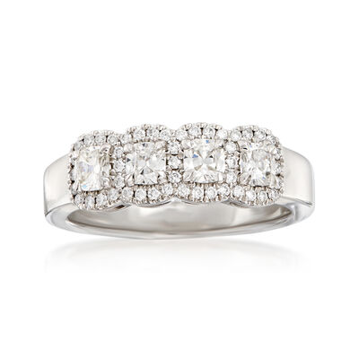 Henri Daussi .72 ct. t.w. Four-Stone Diamond Ring in 18kt White Gold, , default