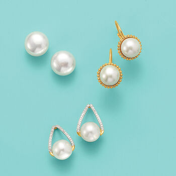 10-11mm Cultured Pearl Stud Earrings in 14kt Yellow Gold