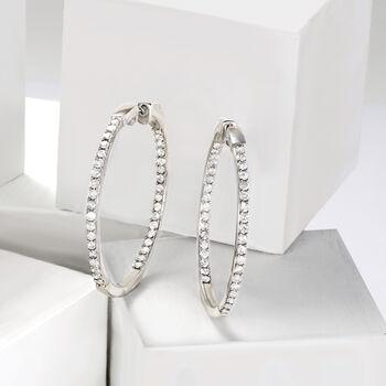 """2.00 ct. t.w. Diamond Inside-Outside Hoop Earrings in Sterling Silver. 1 1/2"""", , default"""