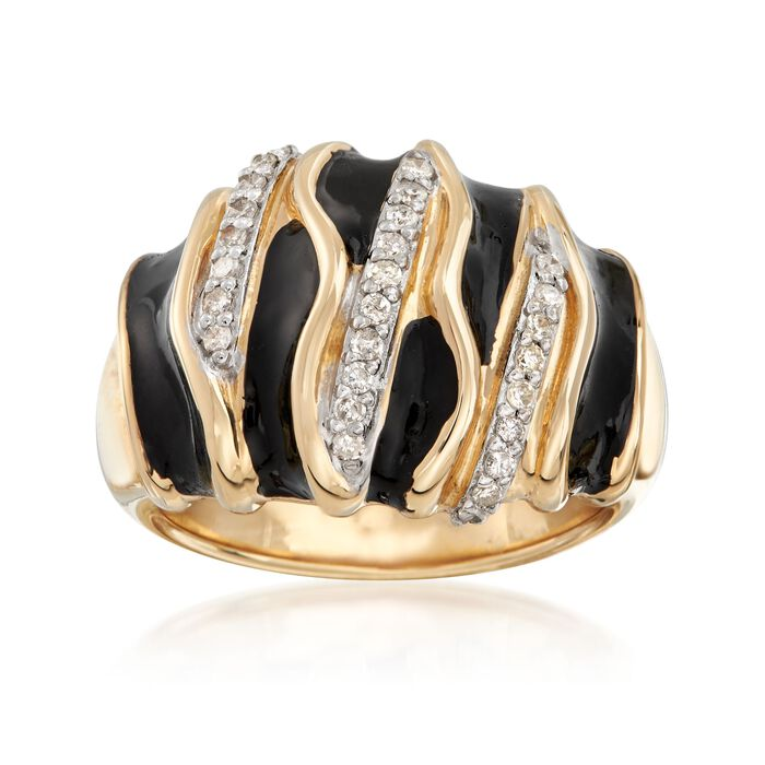Black Enamel and .24 ct. t.w. Diamond Ring in 14kt Yellow Gold. Size 6, , default