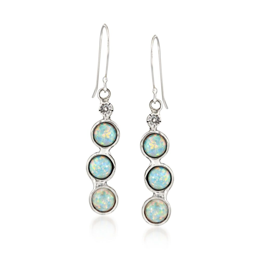 Synthetic Opal Fl Drop Earrings In Sterling Silver Default