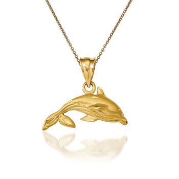 "14kt Yellow Gold Whale Pendant Necklace. 18"", , default"