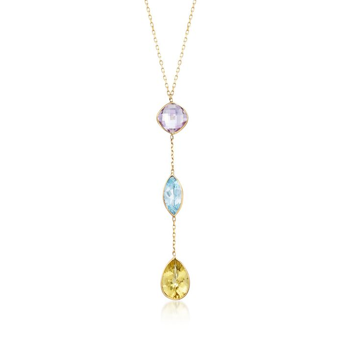 12.30 ct. t.w. Multi-Stone Drop Necklace in 14kt Yellow Gold, , default