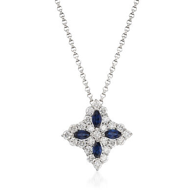 "Roberto Coin ""Princess Flower"" .50 ct. t.w. Diamond and .32 ct. t.w. Sapphire Medium Flower Pendant Necklace in 18kt White Gold"