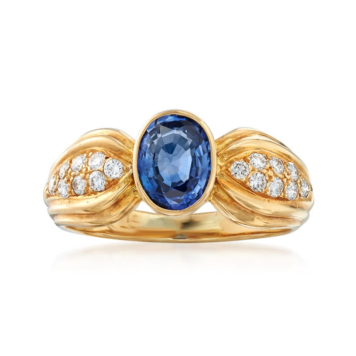 C. 1990 Vintage 1.14 Carat Sapphire and .20 ct. t.w. Diamond Ring in 18kt Yellow Gold. Size 6.5, , default
