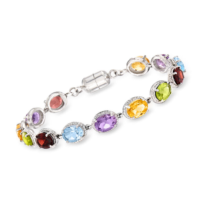 16.60 ct. t.w. Multi-Gemstone Bracelet in Sterling Silver with Magnetic Clasp, , default