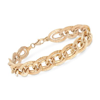 14kt Yellow Gold Textured and Polished Double-Link Bracelet, , default