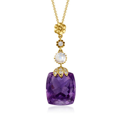 C. 1980 Vintage 22.00 Carat Amethyst, .90 Carat Moonstone and .20 ct. t.w. Diamond Drop Pendant Necklace in 10kt and 14kt Yellow Gold