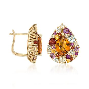 3.00 ct. t.w. Citrine and 2.80 ct. t.w. Multi-Stone Earrings in 14kt Yellow Gold Over Sterling Silver, , default