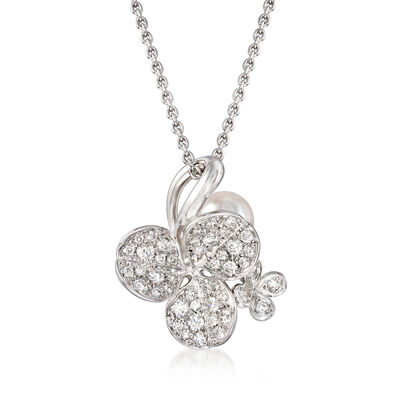 "Mikimoto ""Fortune Leaves"" 6mm A+ Akoya Pearl and .43 ct. t.w. Diamond Pendant Necklace in 18kt White Gold, , default"