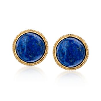 Lapis Dome Earrings in 14kt Gold Over Sterling Silver, , default