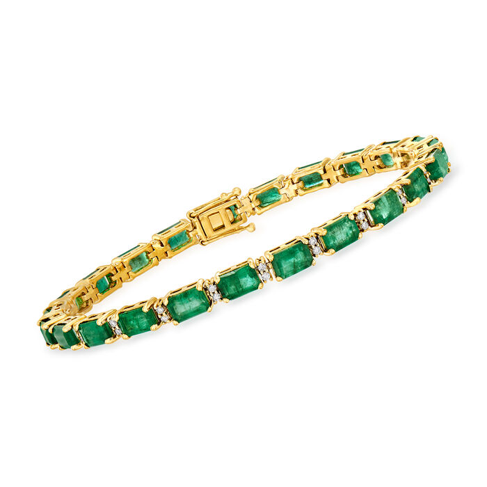 11.50 ct. t.w. Emerald and .45 ct. t.w. Diamond Tennis Bracelet in 18kt Yellow Gold, , default
