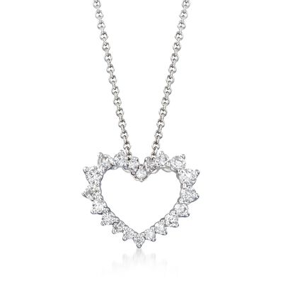 .47 ct. t.w. Diamond Open-Space Heart Necklace in 14kt White Gold, , default