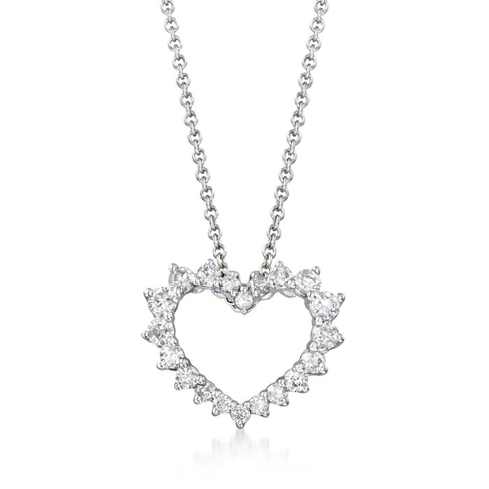 ".47 ct. t.w. Diamond Open-Space Heart Necklace in 14kt White Gold. 18"", , default"