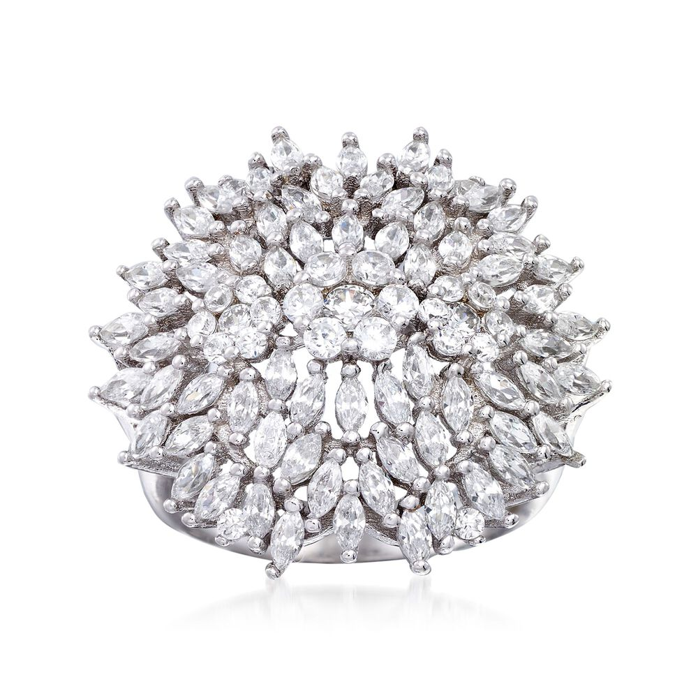 71ce77e72 1.65 ct. t.w. CZ Flower Ring in Sterling Silver | Ross-Simons