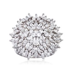 1.65 ct. t.w. CZ Flower Ring in Sterling Silver, , default