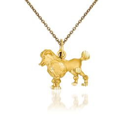 "14kt Yellow Gold Poodle Pendant Necklace. 18"", , default"