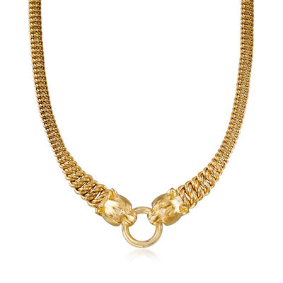 Italian 14kt Yellow Gold Double Panther Head Necklace