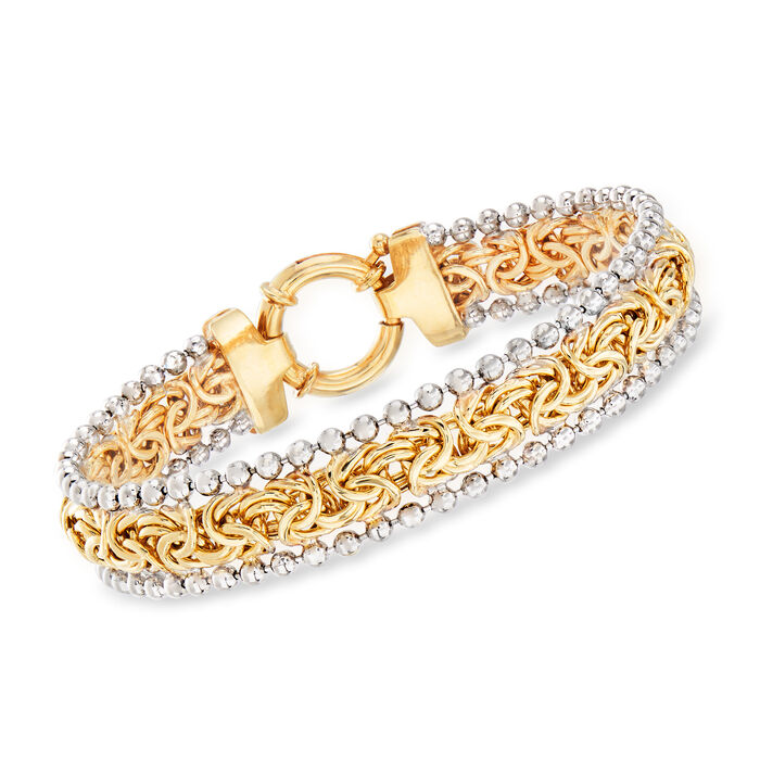 Byzantine Beaded Bracelet in Sterling Silver and 18kt Yellow Gold Over Sterling
