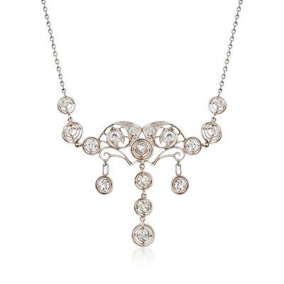 C. 1910 Vintage 2.00 ct. t.w. Diamond Chandelier Necklace in Platinum, , default