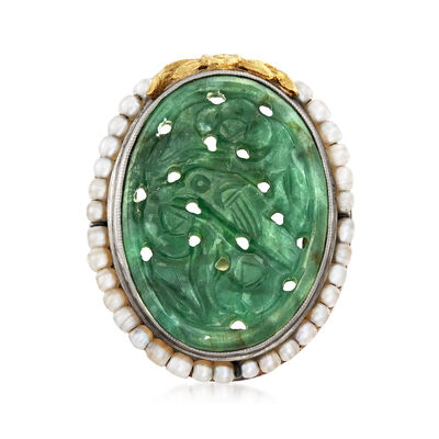 C. 1960 Vintage Cultured Pearl and Green Jade Ring in 18kt Yellow Gold, , default