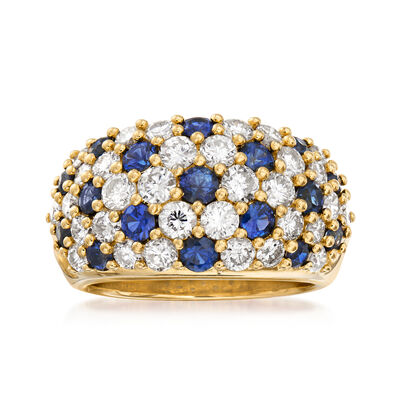 C. 1980 Vintage 1.95 ct. t.w. Diamond and 1.28 ct. t.w. Sapphire Ring in 18kt Yellow Gold