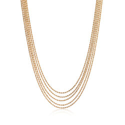 Italian 14kt Yellow Gold Layered Multi-Strand Rope Necklace, , default