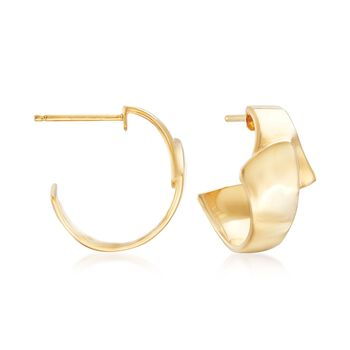 "18kt Gold Over Sterling Silver Overlapping Hoop Earrings. 5/8"", , default"