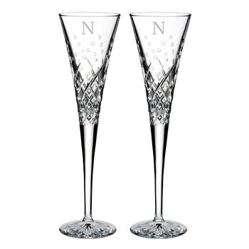 "Waterford Crystal ""Wishes Happy Celebrations"" Set of 2 Block Initial Toasting Flutes from Italy"