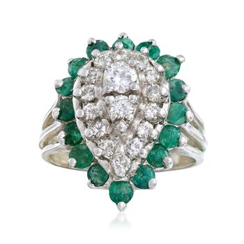 C. 1980 Vintage .65 ct. t.w. Diamond and .95 ct. t.w. Emerald Ring in 18kt White Gold. Size 4.25, , default