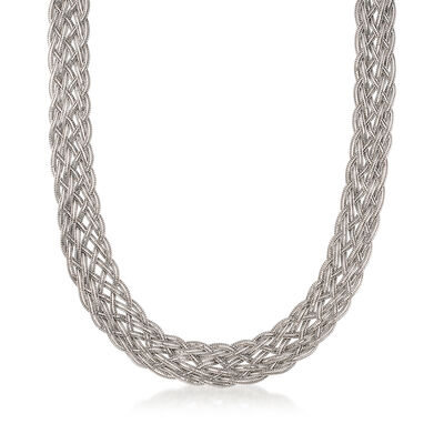 Italian Braided Collar Necklace in Sterling Silver, , default