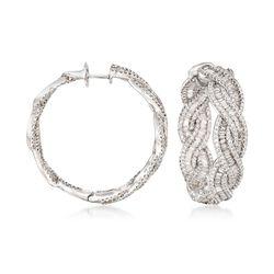 """6.35 ct. t.w. Diamond Inside-Outside Braided Hoop Earrings in 18kt White Gold. 1 1/4"""", , default"""