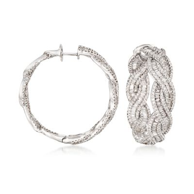 6.35 ct. t.w. Diamond Inside-Outside Braided Hoop Earrings in 18kt White Gold, , default