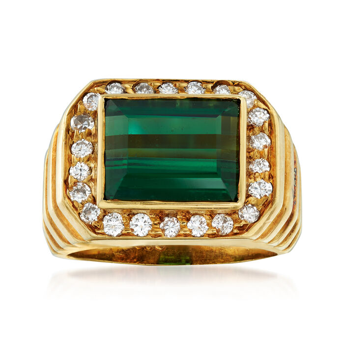 C. 1970 Vintage 3.25 Carat Green Tourmaline and .50 ct. t.w. Diamond Ring in 18kt Yellow Gold. Size 5.75