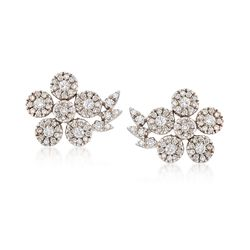C. 1990 Vintage 1.30 ct. t.w. Diamond Flower Earrings in 18kt White Gold, , default