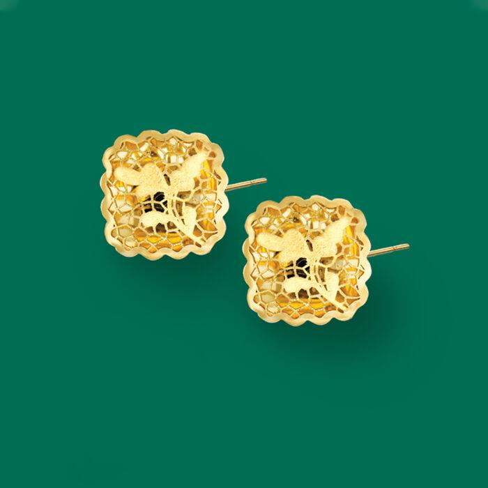 Italian 14kt Yellow Gold Filigree Square Earrings