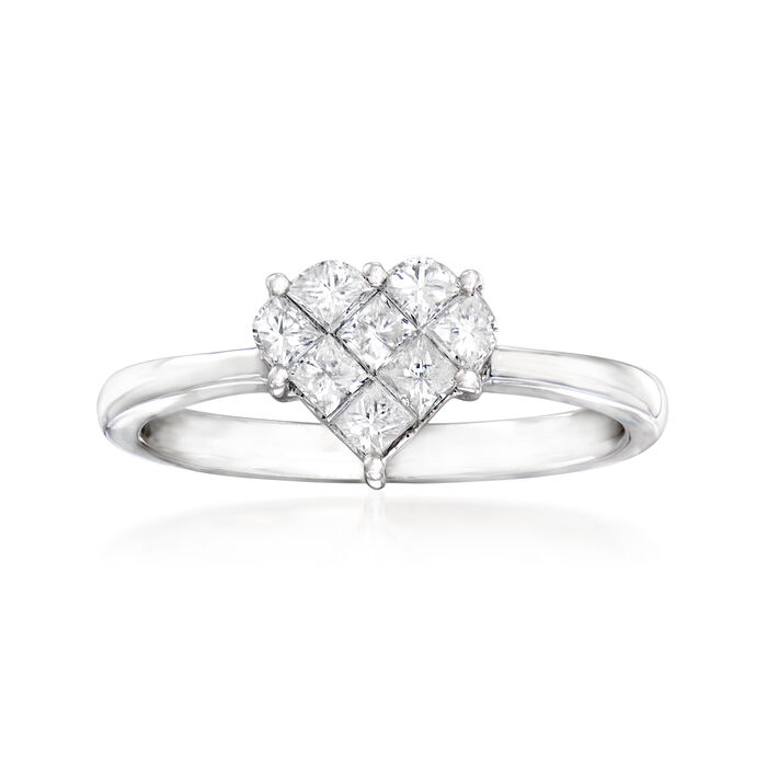 C. 1990 Vintage Giantti .55 ct. t.w. Diamond Heart Ring in 18kt White Gold. Size 7, , default