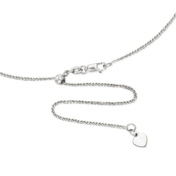 """1mm 14kt White Gold Adjustable Wheat Chain Necklace. 22"""", , default"""